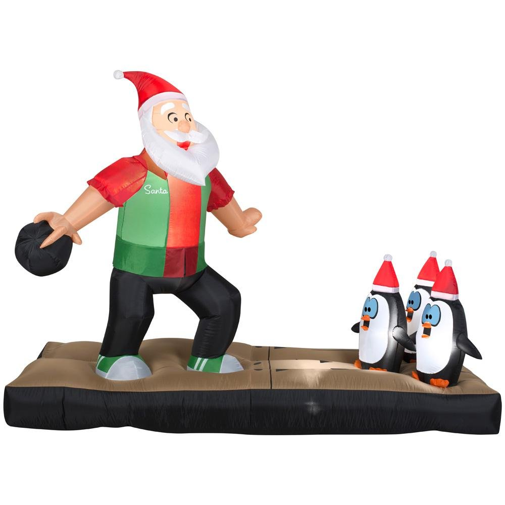 Inflatable 10.5 ft. Santa Bowling Scene by Home Accents Holiday