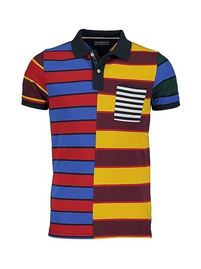 Tommy Hilfiger Halbarm Poloshirt Polokragen Brusttasche Muster Rot Größe L ee7a4510b7