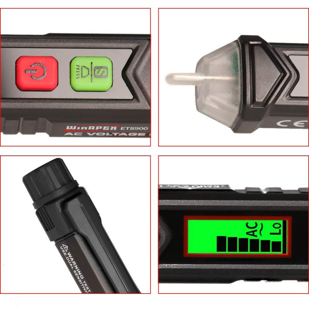 Oksea Spannungspr/üfer PM8909 Intelligentes ber/ührungsloses For Win APEX ET8900 Induktiver Smart Tester Wechselspannungspr/üfger/ät Pen Circuit Detector Auto Power Lampe Werkstattlampe Schwarz