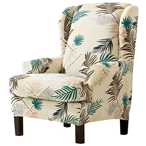 Terrific Moouk 2 Piece Wing Chair Cover Universal Stretch Wingback Slipcovers With Armchair Covers Removable Leaves Printed Sofa Covers Furniture Protector Lamtechconsult Wood Chair Design Ideas Lamtechconsultcom