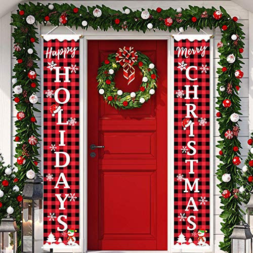 Merry Christmas Banner Christmas Decor Porch Sign Happy Holidays & Merry Xmas Red Black Buffalo Check Plaid Banners Decorations Outdoor Indoor Xmas Decor for Home Wall Door Hanging (Merry Happy Xmas)