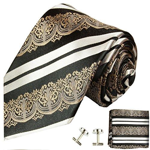 (Paul Malone Extra Long Silk Necktie, Pocket Square and Cufflinks Bronze Black White)