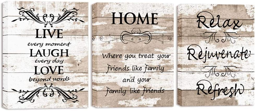 Visual Art Decor Sweet Home Love Life Quotes on Rustic Brown and Beige Wood Textured Background Canvas Prints Wall Art Framed and Stretched for Home Living Room Kitchen Bedroom Decoration