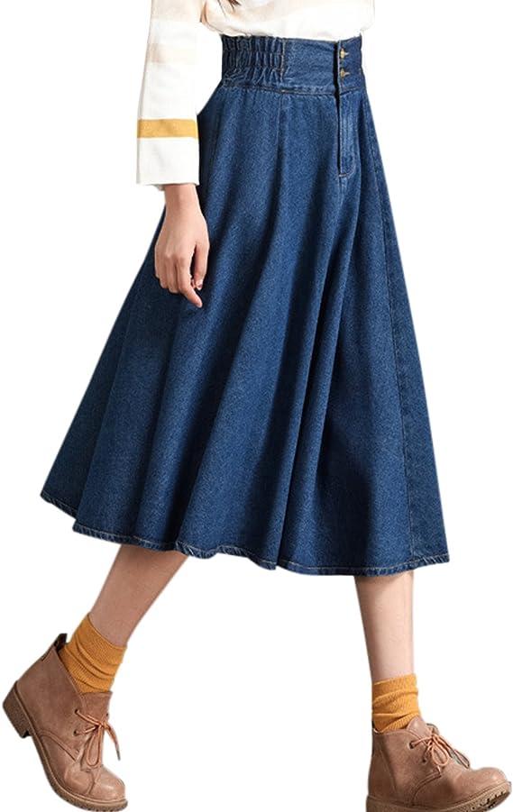 60s Skirts   70s Hippie Skirts, Jumper Dresses Tanming Womens Casual Vintage Elastic Waist Flared Pleated Midi Denim Jean Skirt $39.99 AT vintagedancer.com
