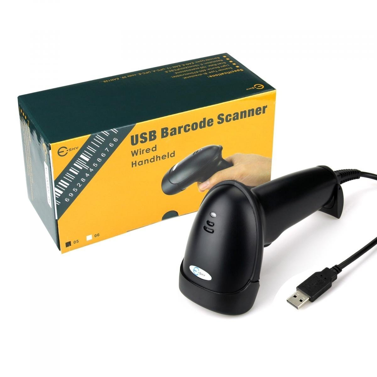 Buy EskyR ES005 Automatic Scan Manual Handheld USB BarCode Scanner ReaderUSB Wired Optical Laser Long Range Online At Low Prices In India