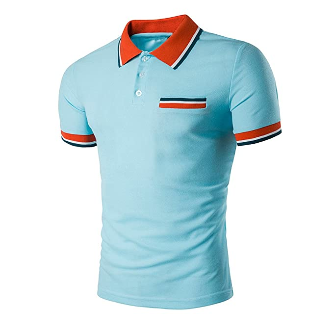 2a885ea87464 Klassisches Poloshirt Herren T Shirt Top Sommer Kurzarm Polohemd Slim Fit  Polo Shirt Splice T-
