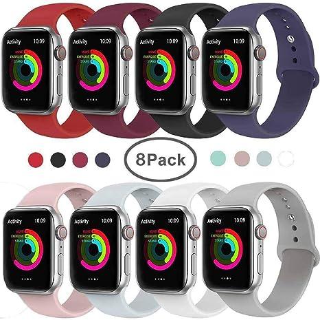 Image of VIKATech Correa de Repuesto Compatible con Apple Watch de 40 mm/38 mm, Correa de Silicona Suave de Repuesto para iWatch Series 4/3/2/1, S/M, 8Pack