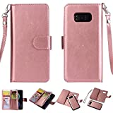 S8 Case, Ratesell 2 in 1 Wallet Case Detachable Cover Folio PU Leather Holster Magnetic Protective Slim Shell Thin Fit Card Holder Slot Flip Case for Samsung Galaxy S8 Rose Gold (Rose Gold)