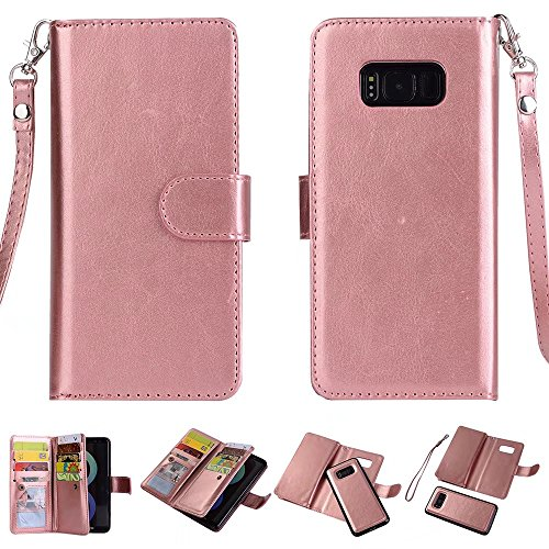 S8 Case, Ratesell 2 in 1 Wallet Case Detachable Cover Folio PU Leather Holster Magnetic Protective Slim Shell Thin Fit Card Holder Slot Flip Case for Samsung Galaxy S8 Rose Gold (Rose Gold) by Ratesell