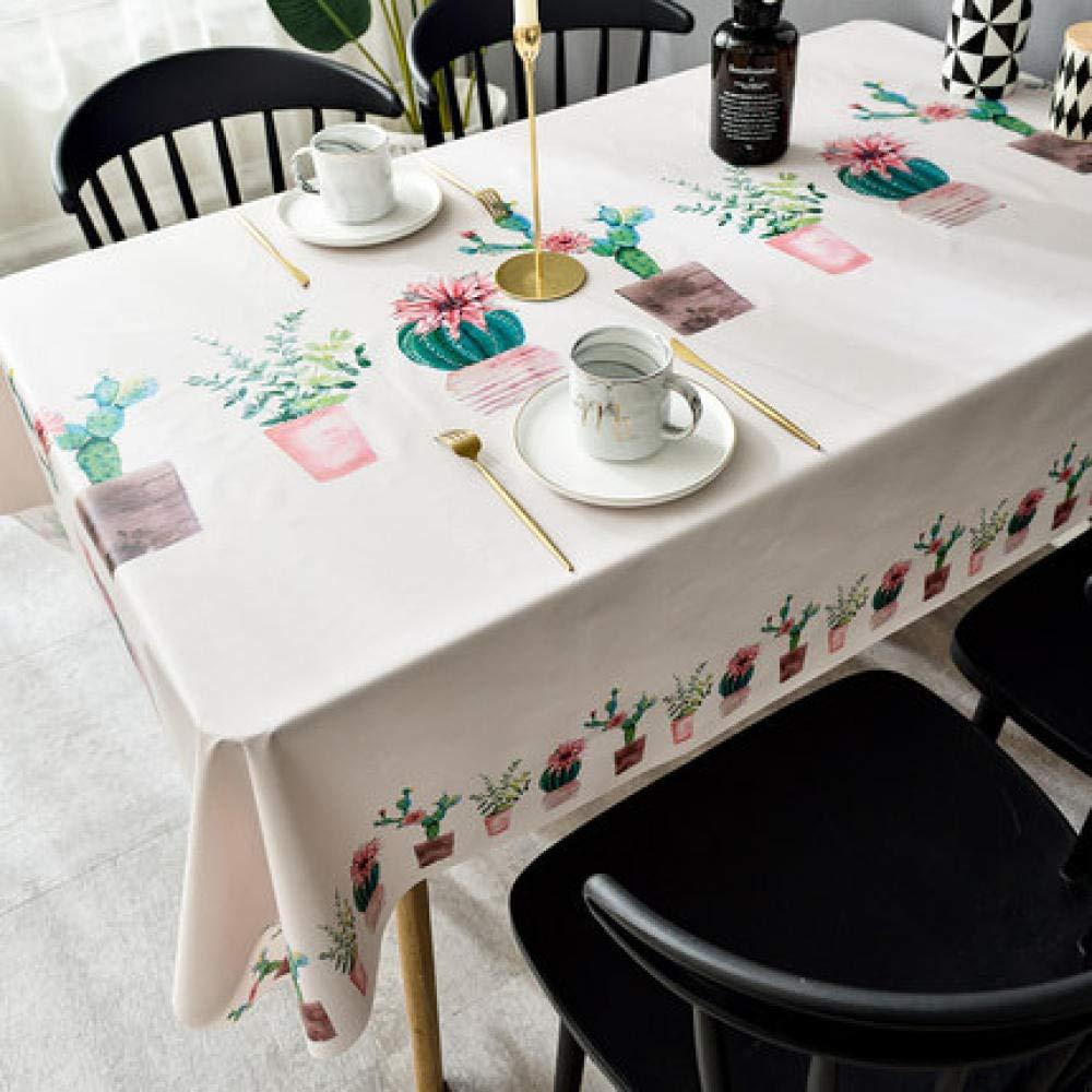 WJJYTX tischdecke Plastik, Abwischbare Tischdecke Rechteckiges wasserdichtes Vinyl für die Gartenküche Außen- oder Innenkaktus @ 140 * 220