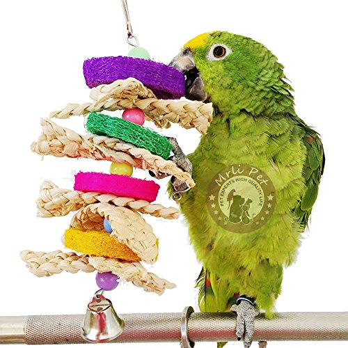 Bird Chew Toys with Natural Rattan Ball String Hanging Rope Bells for Parrot Parakeet Macaw African Greys Budgies Bite,Bird Cage Supplies Funny Pet Swing Sepak Takraw (Loofah Chew Toys for bird)