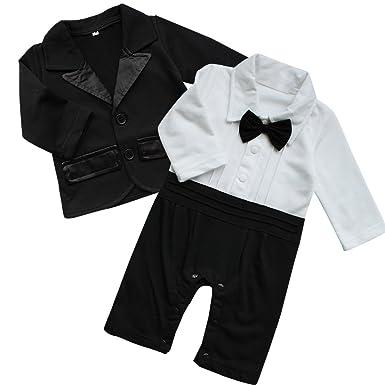 c86b0cd6f FEESHOW Baby Boy s 2Pcs Gentleman Wedding Formal Tuxedo Suit Romer Outfit  Set Size 0-3