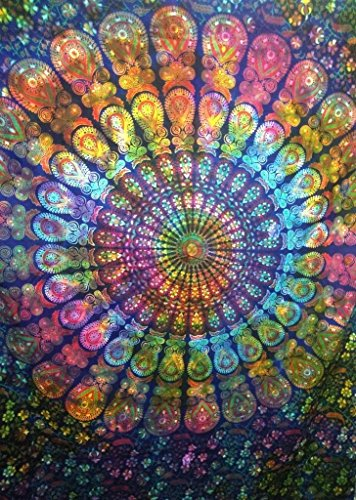 Traditional Jaipur Tie Dye Mandala Wall Tapestry, Indian Cotton Bedding Single, Boho Picnic Throw, Hippie Dorm Room Decorations, Bohemian Wall Hanging, Gypsy Beach Blanket]()