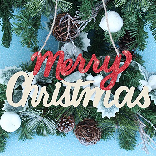 Merry Christmas Sign,Red Glitter Rustic Wooden Christmas Plaque Holiday Hanging Decoration Ornaments,Handmade Sign (Red-X mas) ()