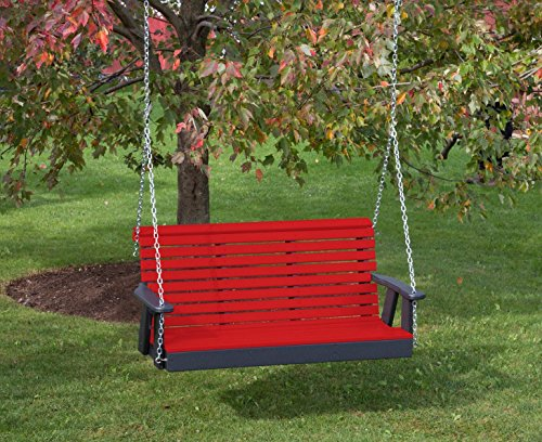 Ecommersify Inc 5FT-Bright RED-Poly Lumber ROLL Back Porch Swing Heavy Duty Everlasting PolyTuf HDPE - Made in USA - Amish Crafted (Lumber Hdpe)