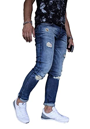 91ec13f4a80 Men's Slim Fit Ripped Distressed Jeans Casual Denim Straight Pants Blue at Amazon  Men's Clothing store: