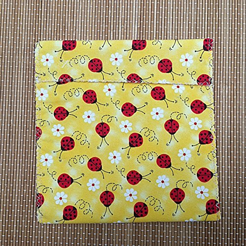 (Lady Bug Daisy Reusable Sandwich Snack Bag, Zero Waste Washable Eco-Friendly)