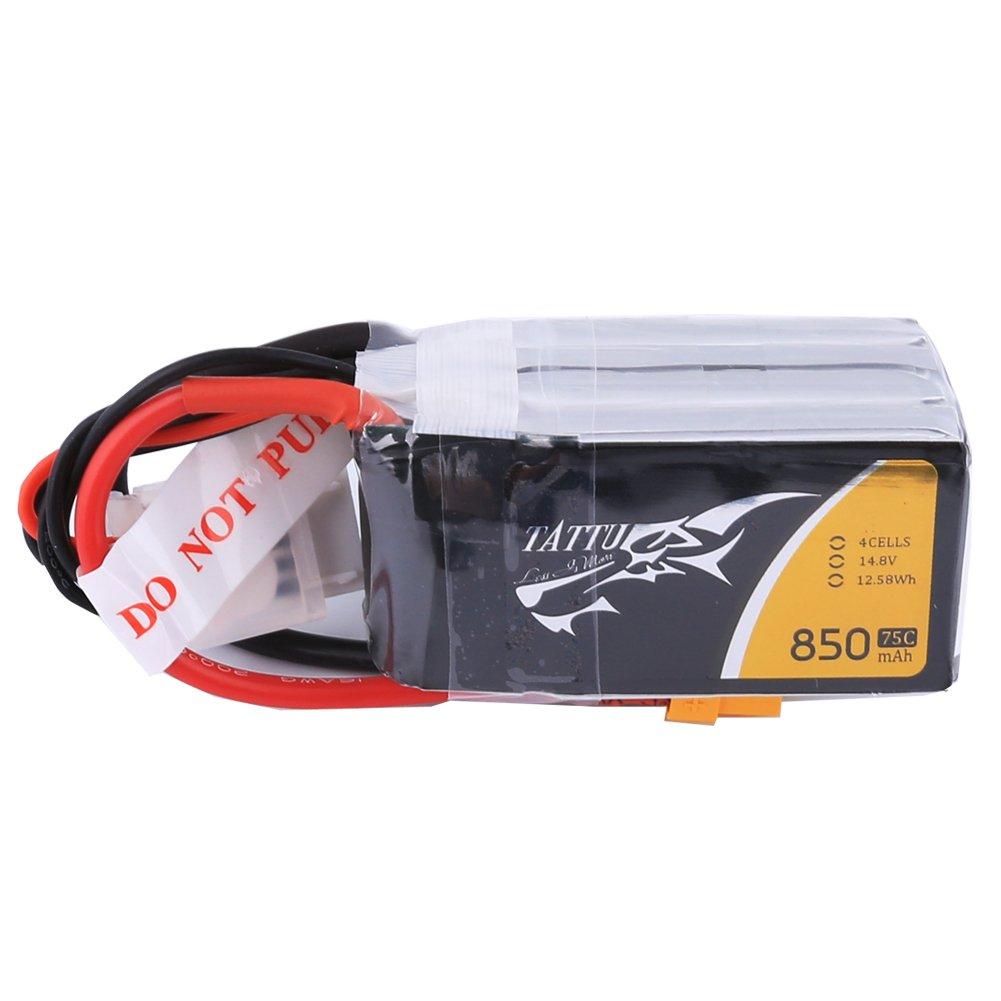 Tattu 850mAh 14.8V 75C 4S1P Lipo Pack Akku mit XT60 Stecker f/ür H und X Gr/ö/ße FPV Racing Quadcopters Drones