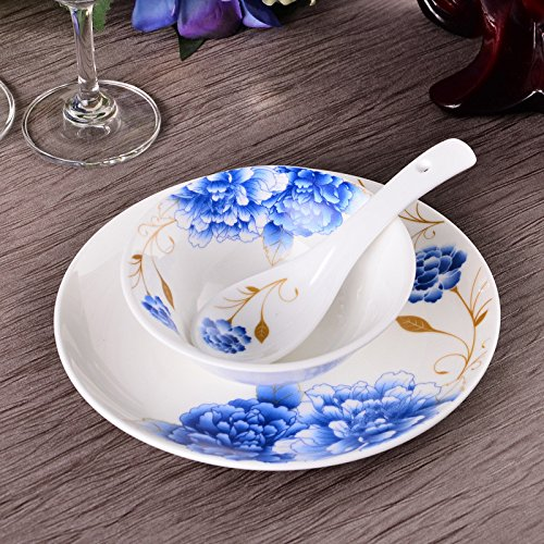 LHJY Blue And White Porcelain Dish Sets Hotel Clubs Chinese Peony Blue And White Porcelain Dishes Shallow Dishes Table Ware Sets Bowls And Saucers 3 Piece Set - Blue Peony Dinnerware