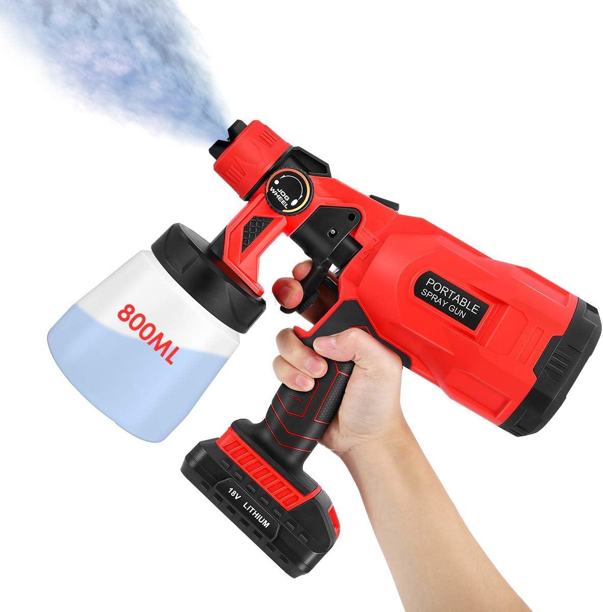 pistola de pulverizacion inalambrica,Pistola de pulverización eléctrica inalámbrica,pistola de pulverización inalámbrica con 3 modos de y botones de válvula ajustables,800 ml