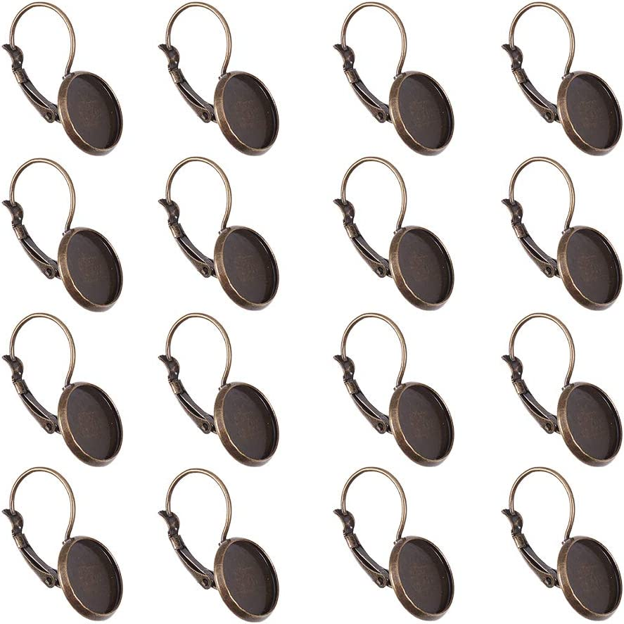 with Flat Round Tray Open Loop Leverback Earring Hoop for Earring Making NBEADS 200 Pcs Antique Bronze Brass Lever Back Hoop Earrings Components