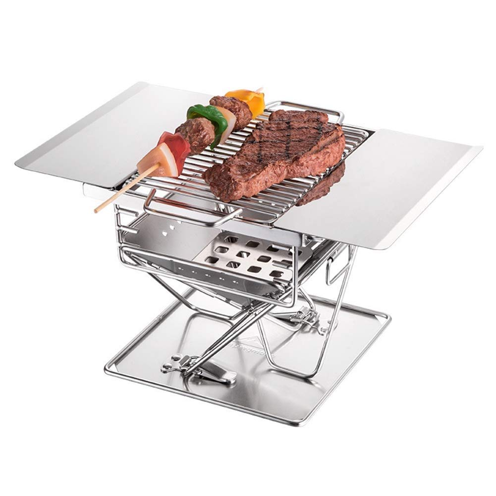 BHH-BBQ Stainless Steel Outdoor Grill Charcoal Portable Folding  Multi-Tools Family Friends Outdoor Camping Picnic Garden Fishing Garden by BHH-BBQ (Image #1)