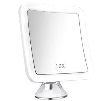 ELFINA Magnifying Mirror With Lights, 10x LED Magnified Lighted Makeup  Mirror, Bathroom Shaving Vanity