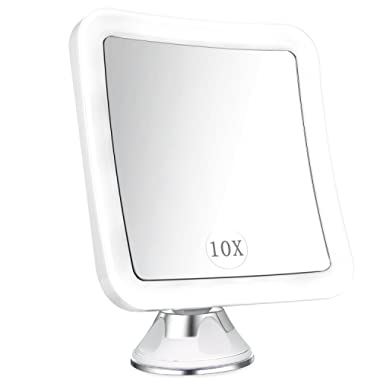 ELFINA Magnifying Mirror with Lights, 10x LED Magnified Lighted Makeup Mirror, Bathroom Shaving Vanity Mirror, Wall Mounted Shower Mirror, Strong Suction Cup, 360 Rotation, Square