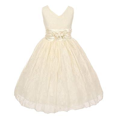cec6f752a3c Shanil Little Girls Ivory Flower Embellished Waistband Lace Flower Girl  Dress 2