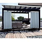 Macochico Sky Blue Outdoor Curtains for Patio Garden Gazebo Hotel Kids Room Draperies Thermal Insulated Light Proof Noise Buffer 84W x 96L (1 Panel)