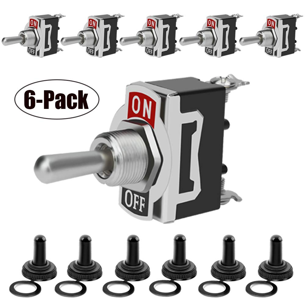 Heavy Duty Rocker Toggle Switch 15A 250V 20A 125V SPST 2 Pin ON/Off Switch Metal Bat Waterproof Boot Cap Cover - 6 Pack by MXRS