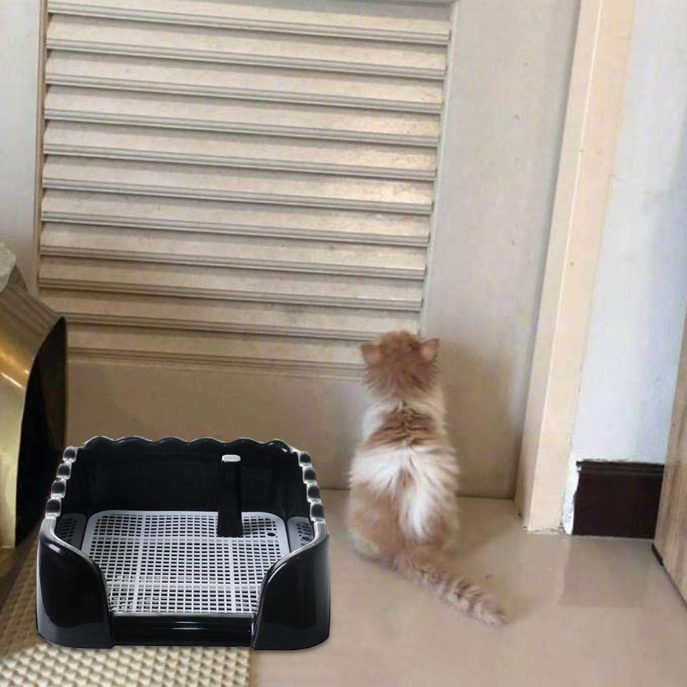 Leking Puppy Potty Portable Pet Dog Cat Toilet Toilet Tray Pupo Pads Holder Pads de Entrenamiento con Valla y Pee Post Interior Exterior