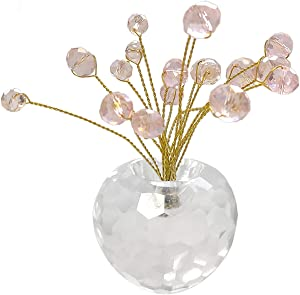 Senliart Small Crystal Artificial Trees, Office Desk Décor for Women Pink