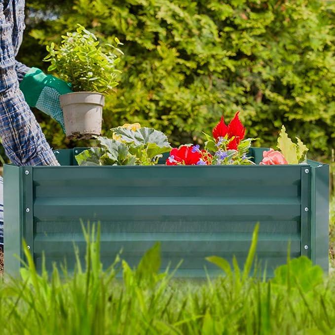HENGMEI - Jardinera de Acero galvanizado, Rectangular, para balcón ...