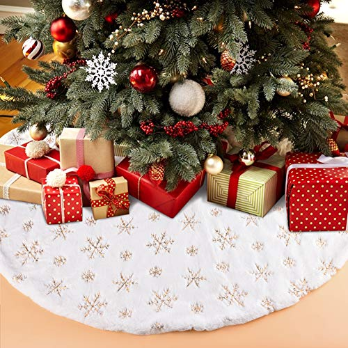 Funkprofi Christmas Tree Skirts White Plush with Golden Snowflake Sequins, Faux Fur Handmade Soft Luxury Tree Skirt Decorations for Indoor Outdoor Xmas Holiday Party Decor Kids Pet Favors (35.43 Inch) (Tree Handmade Golden)