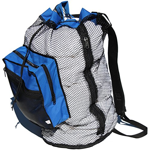 Gear Up Guide USA Crafted Urban Rucksack 3 Load Laundry Bag Heavy Duty Mesh Backpack, Blue