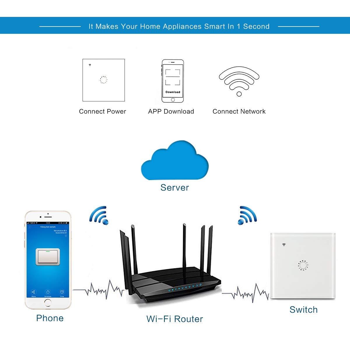 funci/ón de sincronizaci/ón Touch Wireless Intelligence interruptores de Pared con Control Remoto de aplicaci/ón de Voz Compatible con Alexa Echo y Google Assistant Blanco Interruptor WiFi Alexa