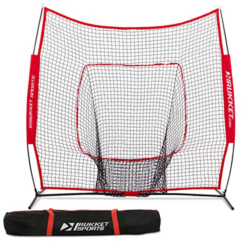 Cage Backstop Portable (Rukket 7x7 Baseball & Softball Net | Practice Hitting, Pitching, Batting and Catching | Backstop Screen Equipment Training Aids | Includes Carry Bag)