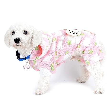 SELMAI Pequeño Perro Abrigo de Terciopelo Mono con Capucha Pijamas Abrigos Elefante Invierno Mascota Perrito Gato