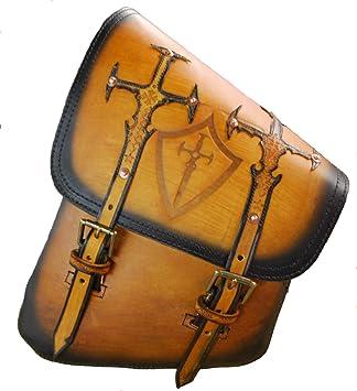 La Rosa All HD Softail//Rigid Frame Leather Left Swingarm Bag-Rustic Brown