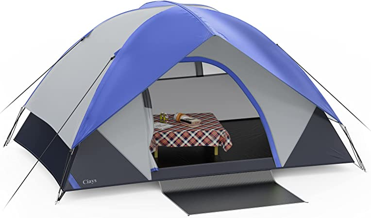Ciays Camping Tent, Waterproof Family Tent with Removable Rainfly and Carry Bag, Lightweight Tent with Stakes for Camping, Traveling, Backpacking, Hiking, Outdoors