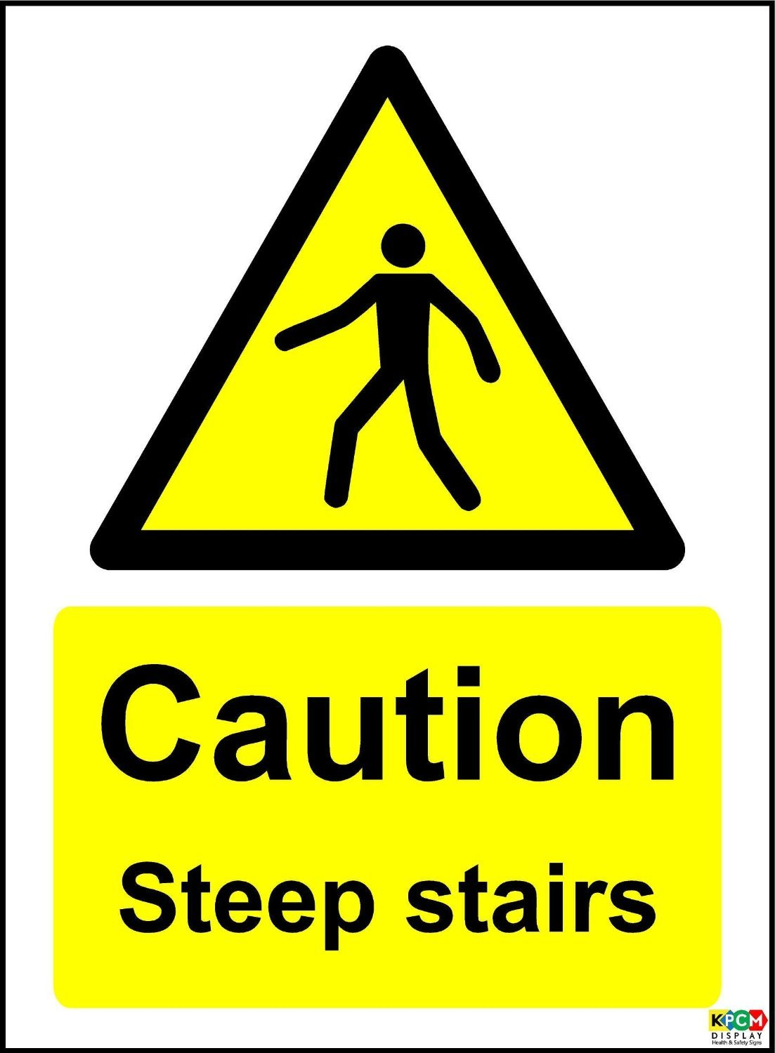 TAKE CARE ON THE STAIRS SAFETY STICKER RIGID MA417 INDOOR OUTDOOR SIGN