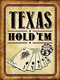 chengdar732 Texas Hold 'Em Vintage Metal Sign, Cards, Poker Chip, Gaming, Game Room, Mancave, Den, Wall Décor