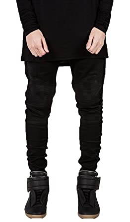 Mens Skinny Runway Distressed Slim Denim Biker Jeans Hiphop Pants