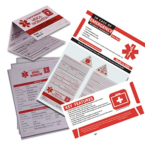 In Case of Emergency Contact Cards with Medical Alert, Two Premium Tri-Fold Wallet Cards, Two Key Fobs, I.C.E. ID Emergency Contacts, Allergies, Medical Information, Doctors. Plus printable (Medical Id Wallet Card)