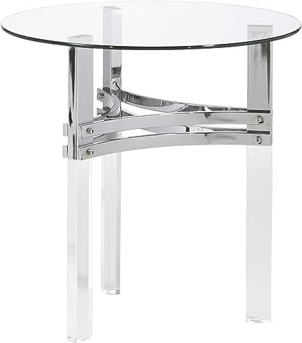Signature Design by Ashley – Braddoni Round End Table, Chrome Finish