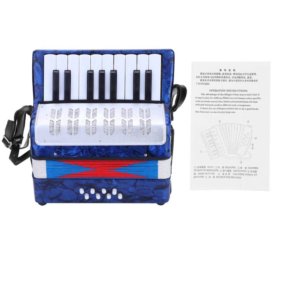 Bnineteenteam 17 Key 8 Bass Piano Accordion with a Manual Suitable for Beginners(Dark Blue) by Bnineteenteam