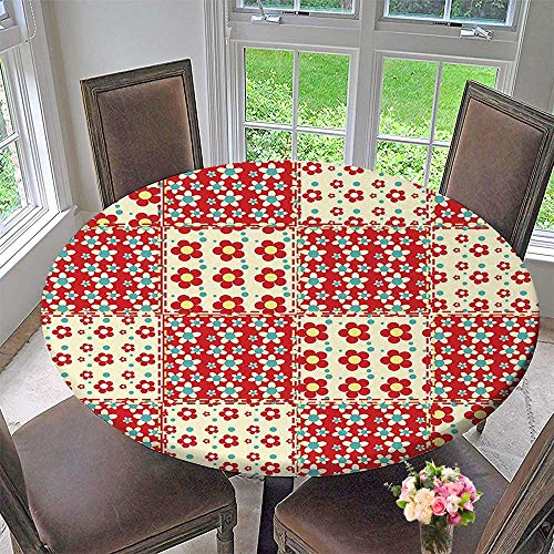 Mikihome Chateau Easy-Care Cloth Tablecloth Traditional Quilt Pattern with Spring Garden Flowers Daisies Light Yellow Turquoise Red for Home, Party, Wedding 63