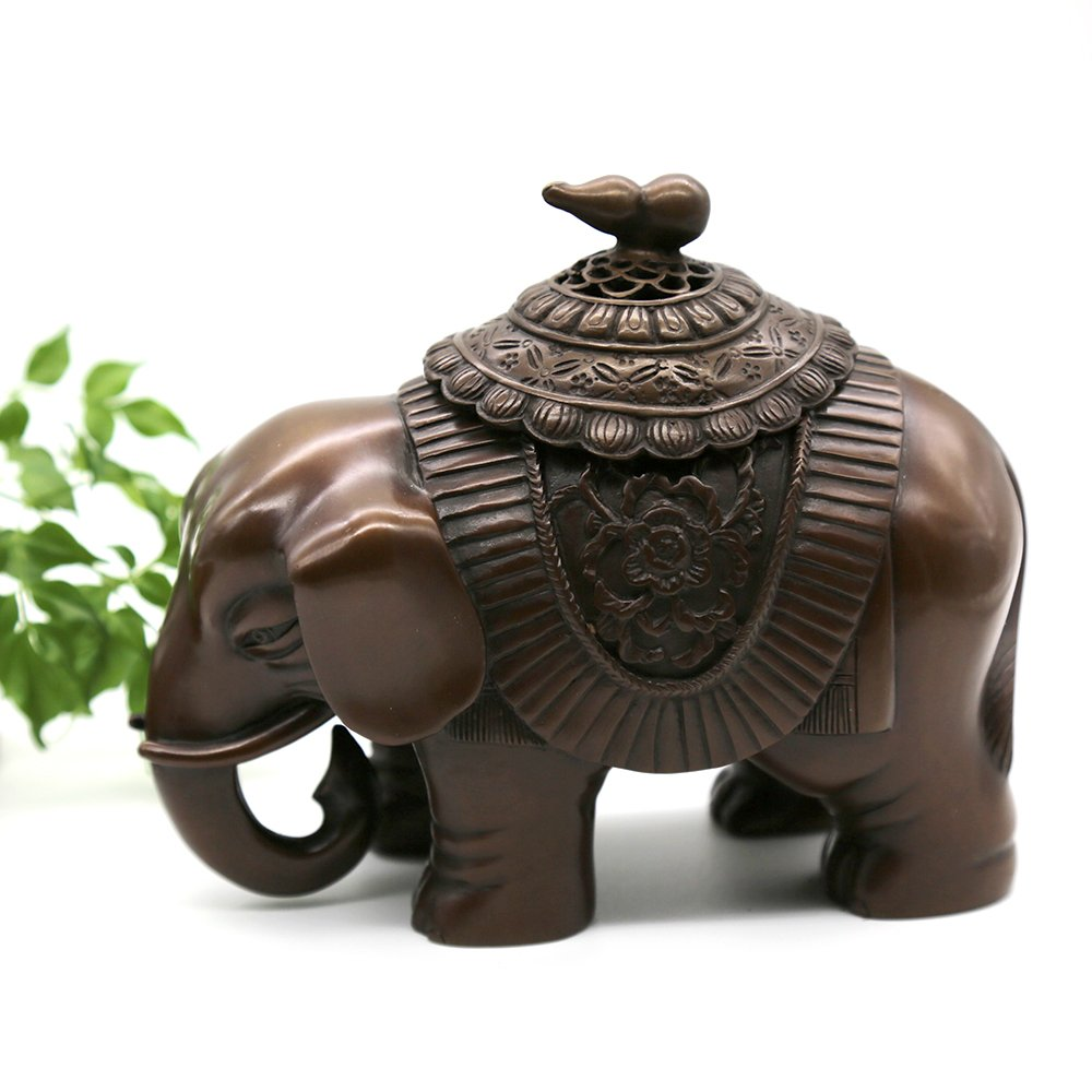 Hand-made Brass Censer (Elephant Shaped) Incense Burner - Contain Incense Holder Net Weight:1200g (Approx.) Hand-made Chinese Classical Style Traditional Technology Home Decoration