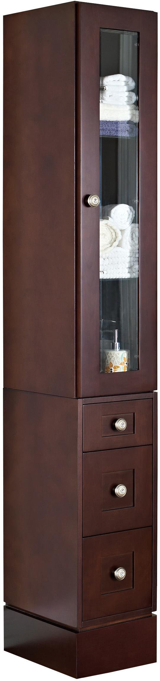American Imaginations 564   12-Inch  Wide Solid Cherry Wood Linen Tower with Soft-Close Door and Drawers, Coffee Finish
